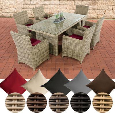 Poly-Rattan Sitzgruppe FONTANA (6 Stühle + Tisch 180 x 90 cm), 5 mm - gartenmobel polyrattan eckbank