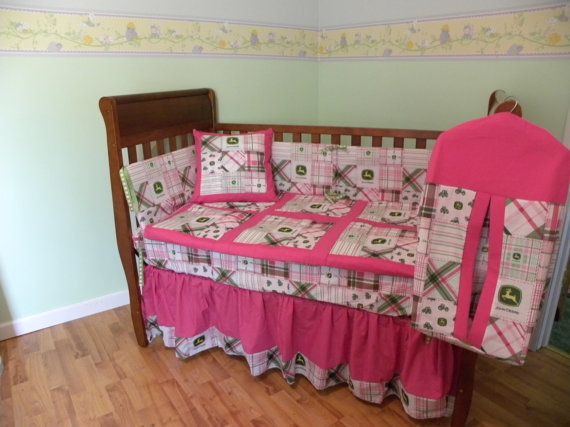Pink John Deere Kids Crib Nursery Set By Prairiewomandesigns