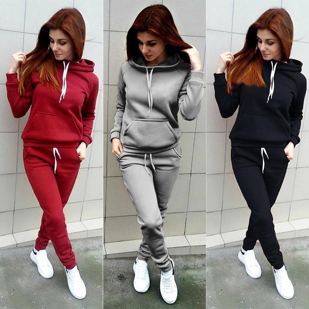 Women Tracksuit Coat+Pants Sport Suit Letter Print Hoodie Sweatshirt 2pcs  Set HK fdad77716