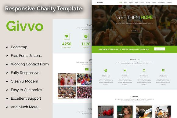Givvo - Charity Website Template by BFolio on @creativemarket ...