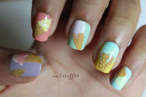 Pastel Ice Cream Cone Nails nails nail nail art summer nails nail designs summer nail art summer manicures ice cream nails
