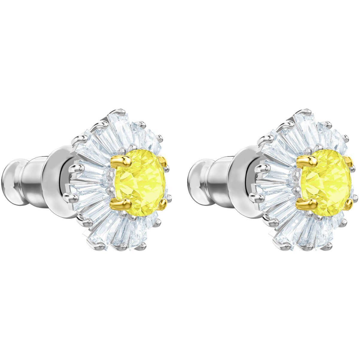 d7b171f141192 Sunshine Pierced Earrings, White, Rose-gold tone plated | E Dark ...