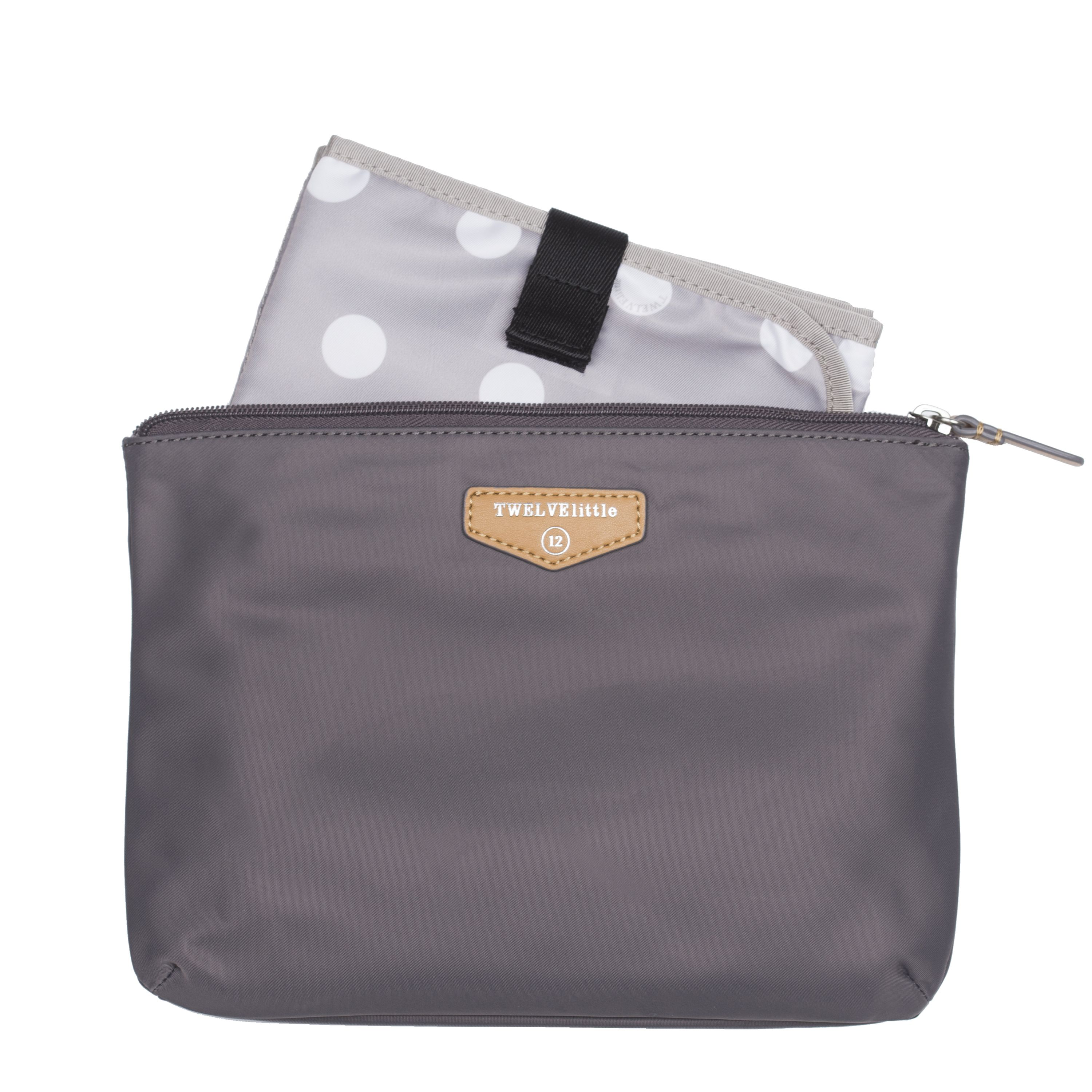 TWELVElittle Easy Diaper Pouch in Grey: Water-resistant coating on exterior and interior, comes with a diaper changing pad inside. [gray on-the-go travel kit nursing durable fashionable mommy diaper bag accessories]