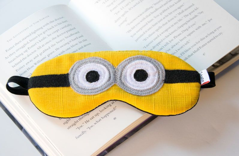 8e942c662f4 Minion sleep mask with cotton lining and batting. Black sleep mask. Minion  travel mask. Kids sleeping mask. Party favor. by ScharleCreations on Etsy