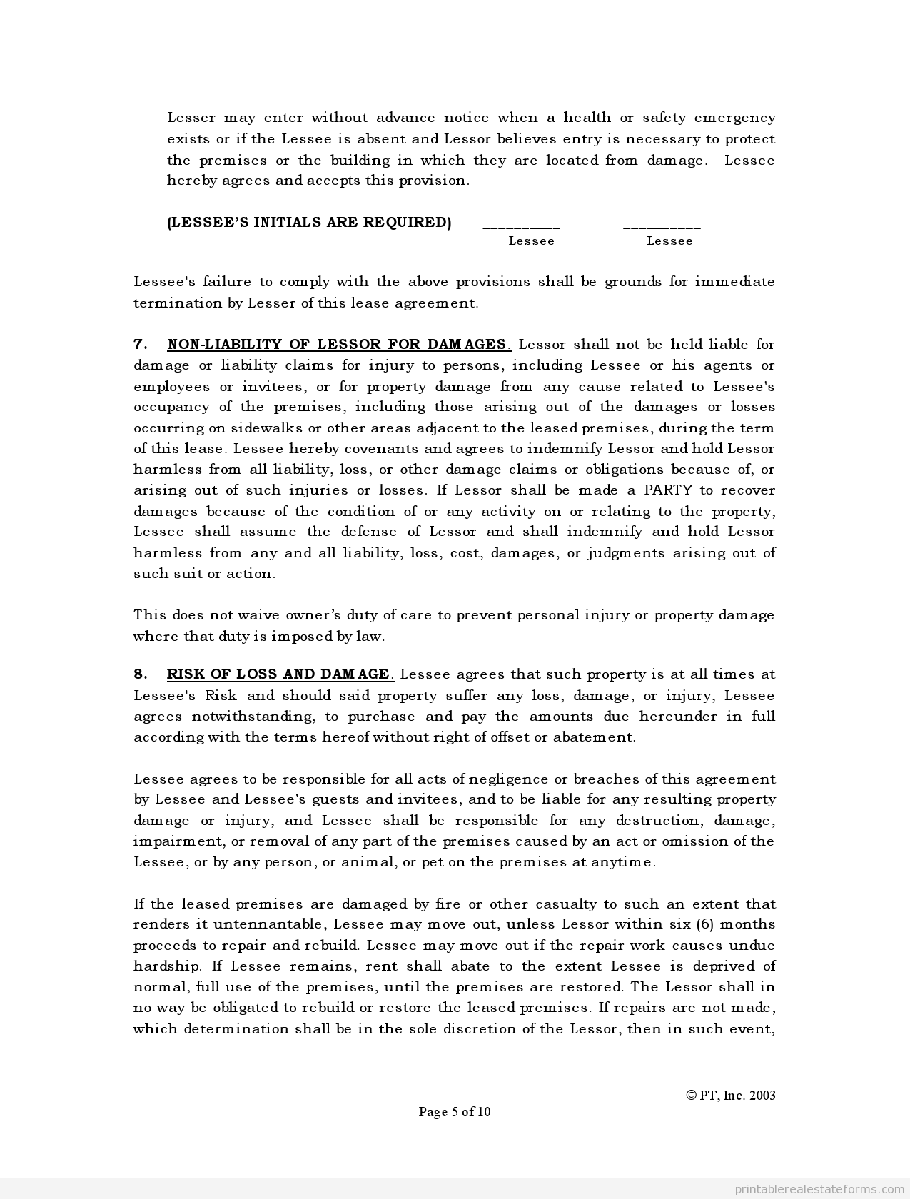 Sample Printable Standard Lease Agreement Form  Sample Real