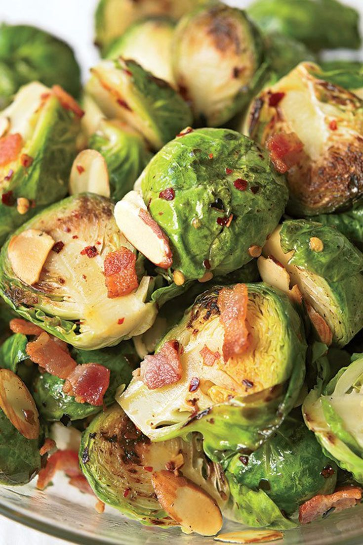 Brussels sprouts with bacon and almonds recipe eat this