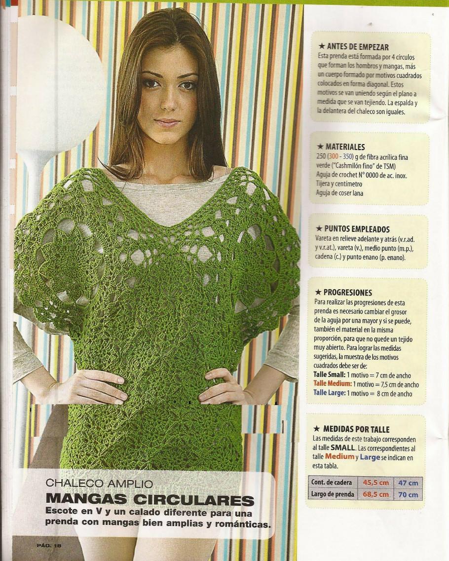 Único Patrón Chaleco Círculo Crochet Festooning - Manta de Tejer ...