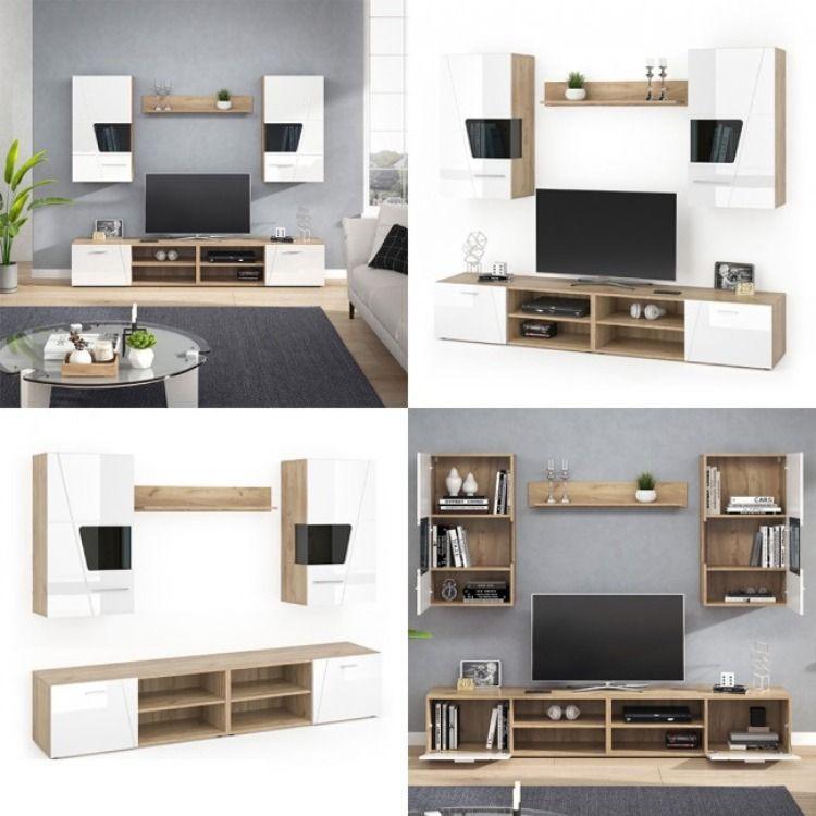 Mur Tv Hifi Blanc Et Chaªne Cielterre Commerce En 2020 Meuble Hifi Decoration Maison Meuble Tv Design