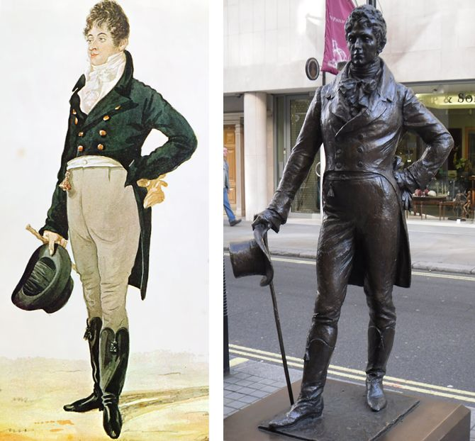 On this day 7th June, 1771, the birth of George Bryan Brummell, commonly known as 'Beau Brummell'. He was an iconic figure in Regency England and is credited with introducing and establishing as fashion, the modern men's suit, worn with a tie. He claimed he took two hours to dress and recommended that boots be polished with champagne.  Beau Brummell and his statue on Jermyn Street, London
