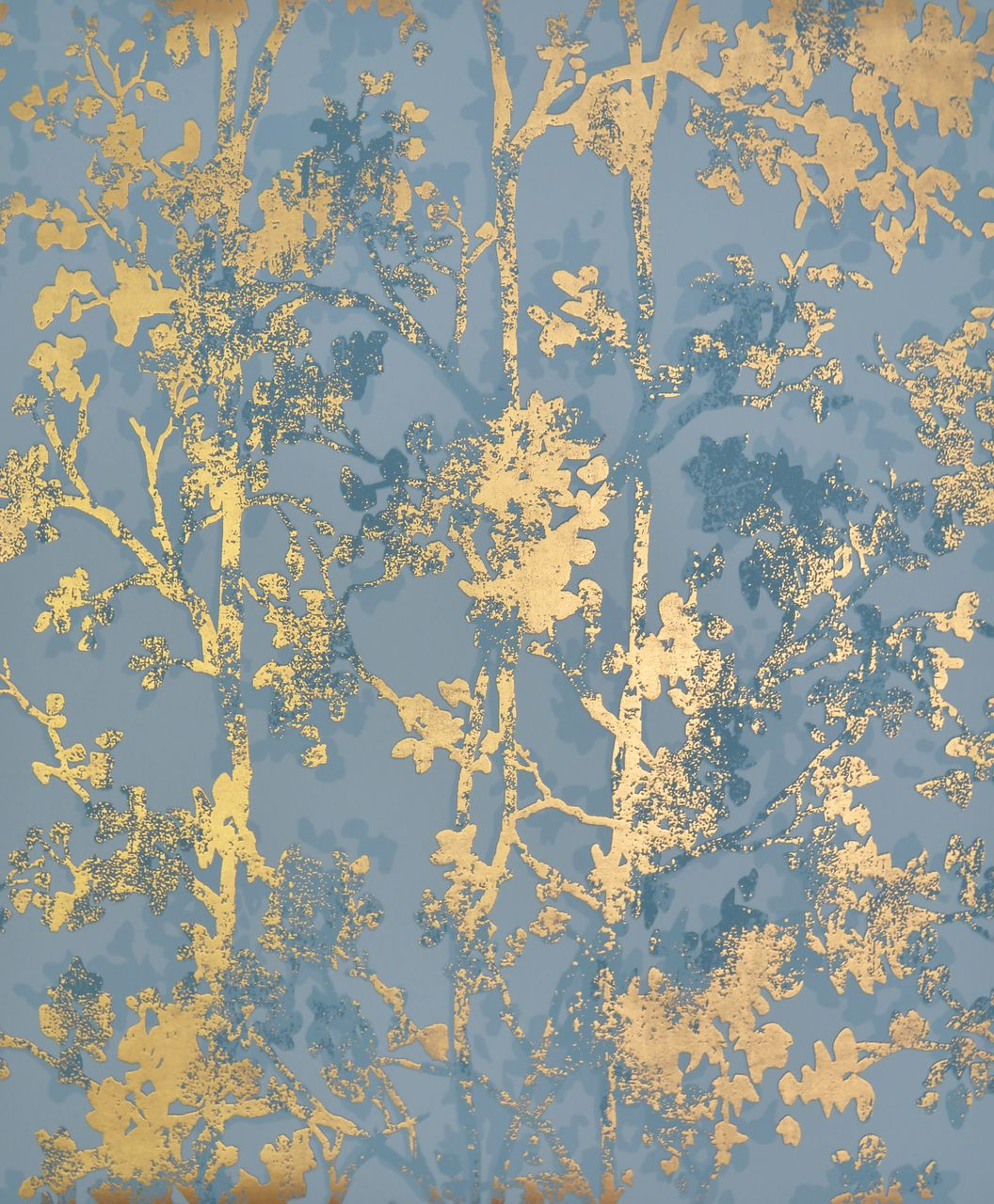 York Wallcoverings Nw3581 Modern Metals Shimmering Foliage Wallpaper Blue Gold Papel Tapiz Papel Pintado Pintura Encaustica
