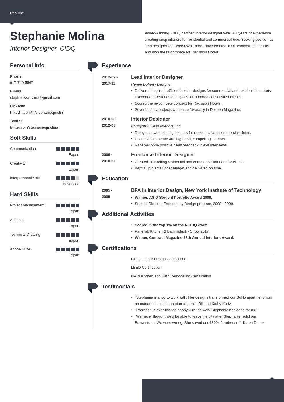 interior design resume example template modern in 2020