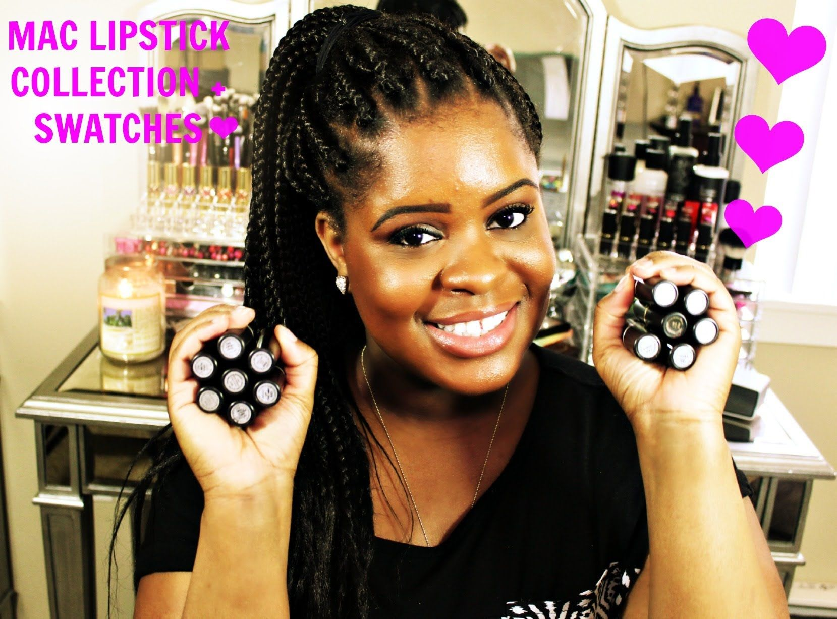 ❤ MAC Lipstick Collection Live Swatches On Dark Skin ❤ --. Flat Out fabulous and Candy yum yum and magenta lip liner