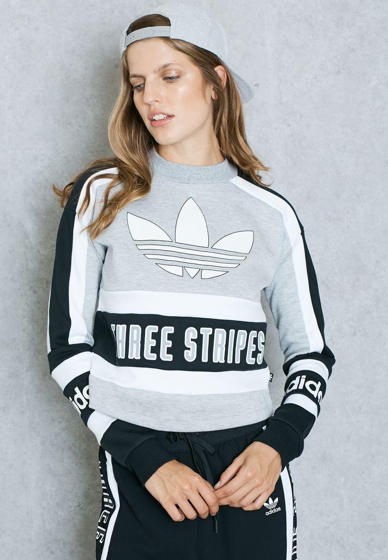Predownload: Adidas Originals Grey Trefoil Sweatshirt Ay8599 Sportswear Women Sport Outfits Fashion [ 1100 x 762 Pixel ]