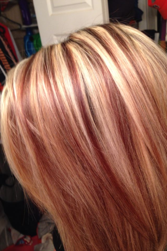 Red Lowlights Hair Highlights And Lowlights Red Blonde Hair Blonde Hair Red Lowlights