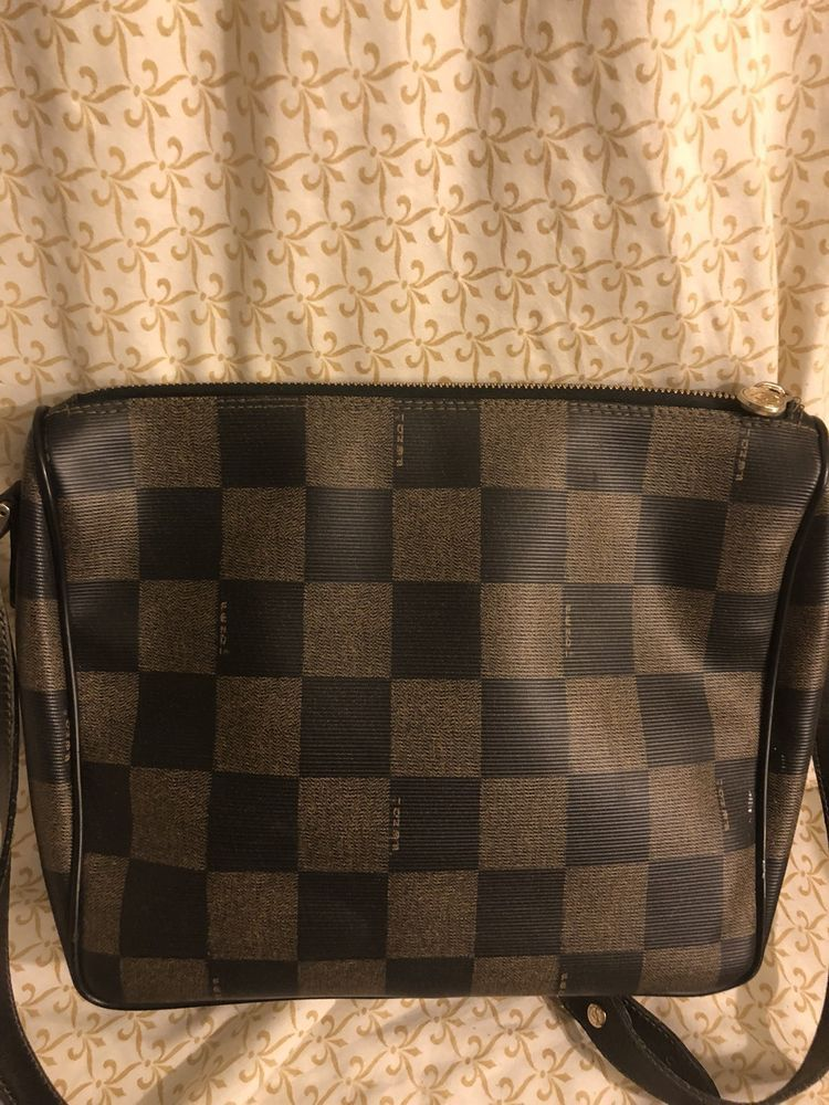 9a43edc1915 Fendi Vintage Coated Checkered Crossbody Bag - Brown- Retail $795 ...