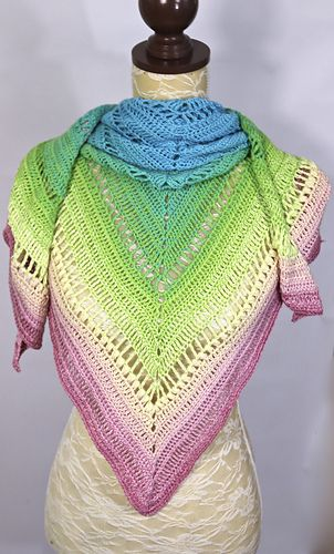 The Sherbet Rainbow shawl is designed to show off the amazing colour ...