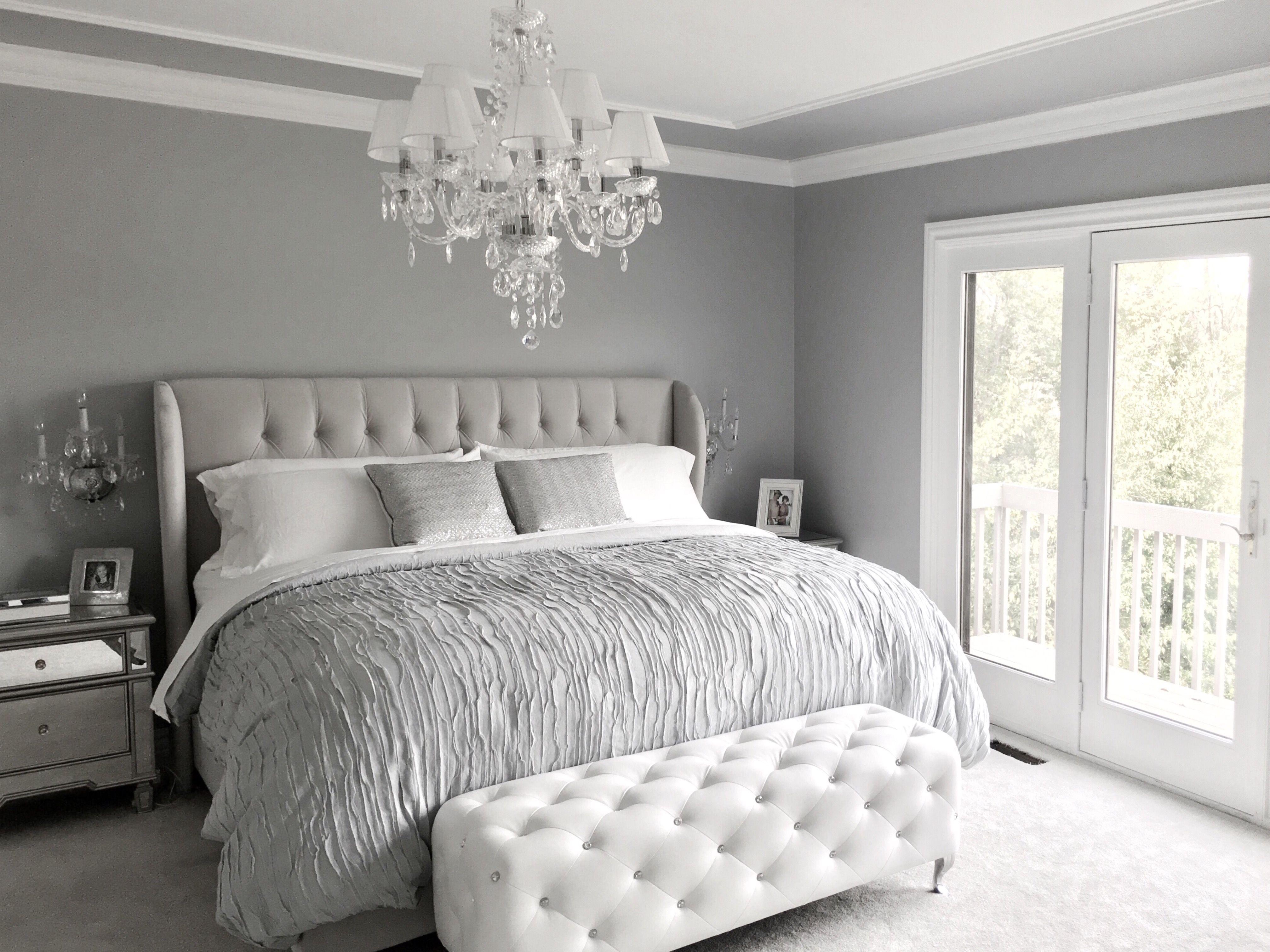 Glamorous Grey Bedroom Decor Grey Tufted Headboard Decoracion