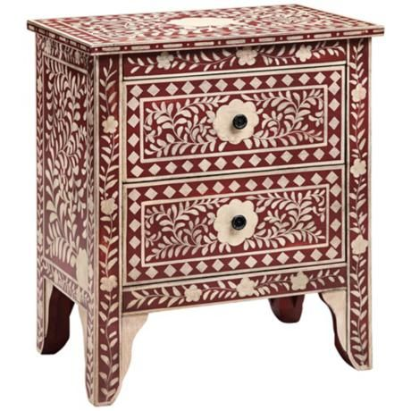 lovely used as bedside tables #moroccan floral two drawer red