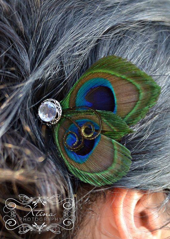 Sexy Peacock Feather Bridal Hair Fascinator by BellaDivaCouture, $12.00