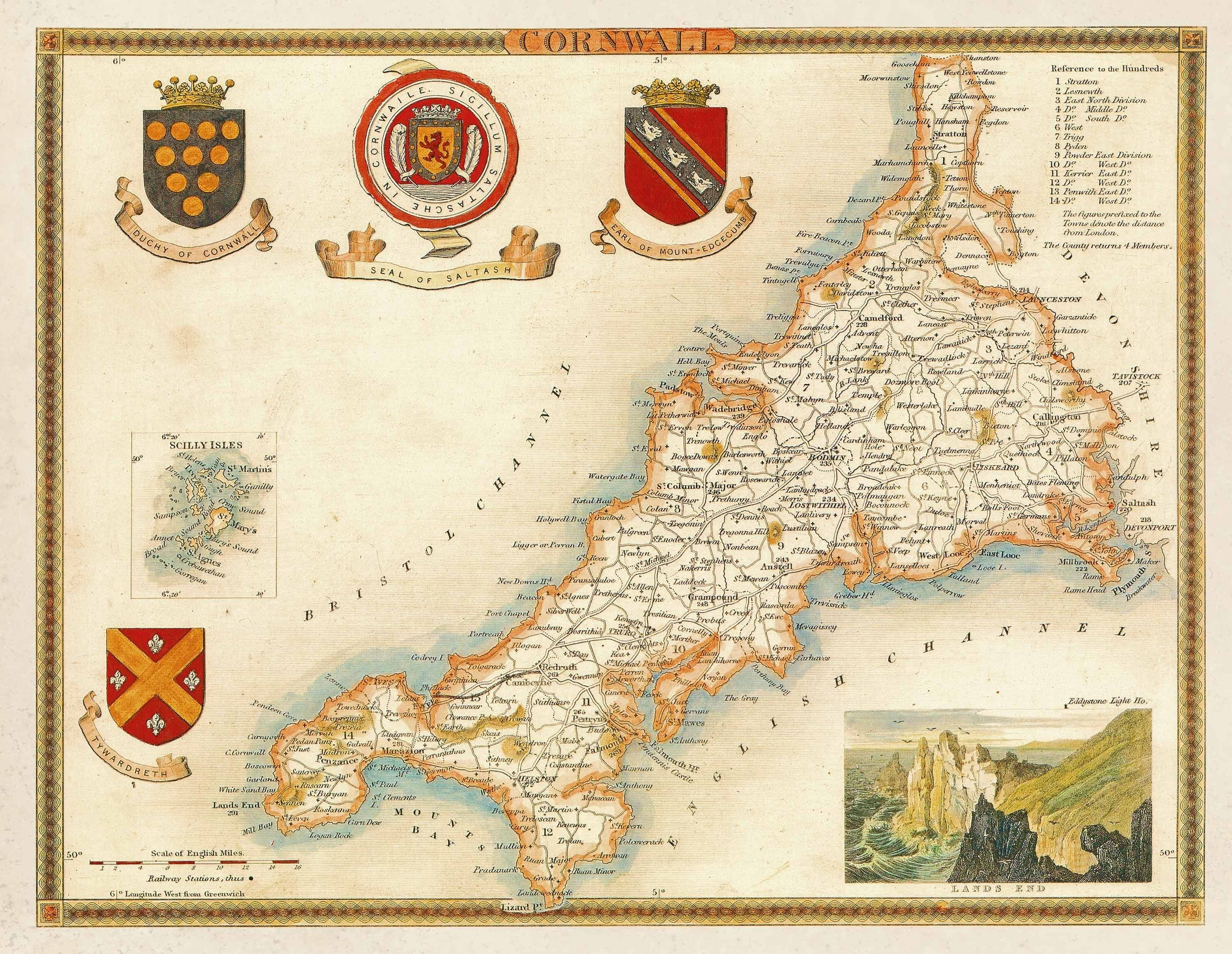 Old map of cornwall by thomas moule circa 1850 mapmania vintage maps uk promotion shop for promotional vintage maps uk on gumiabroncs Images