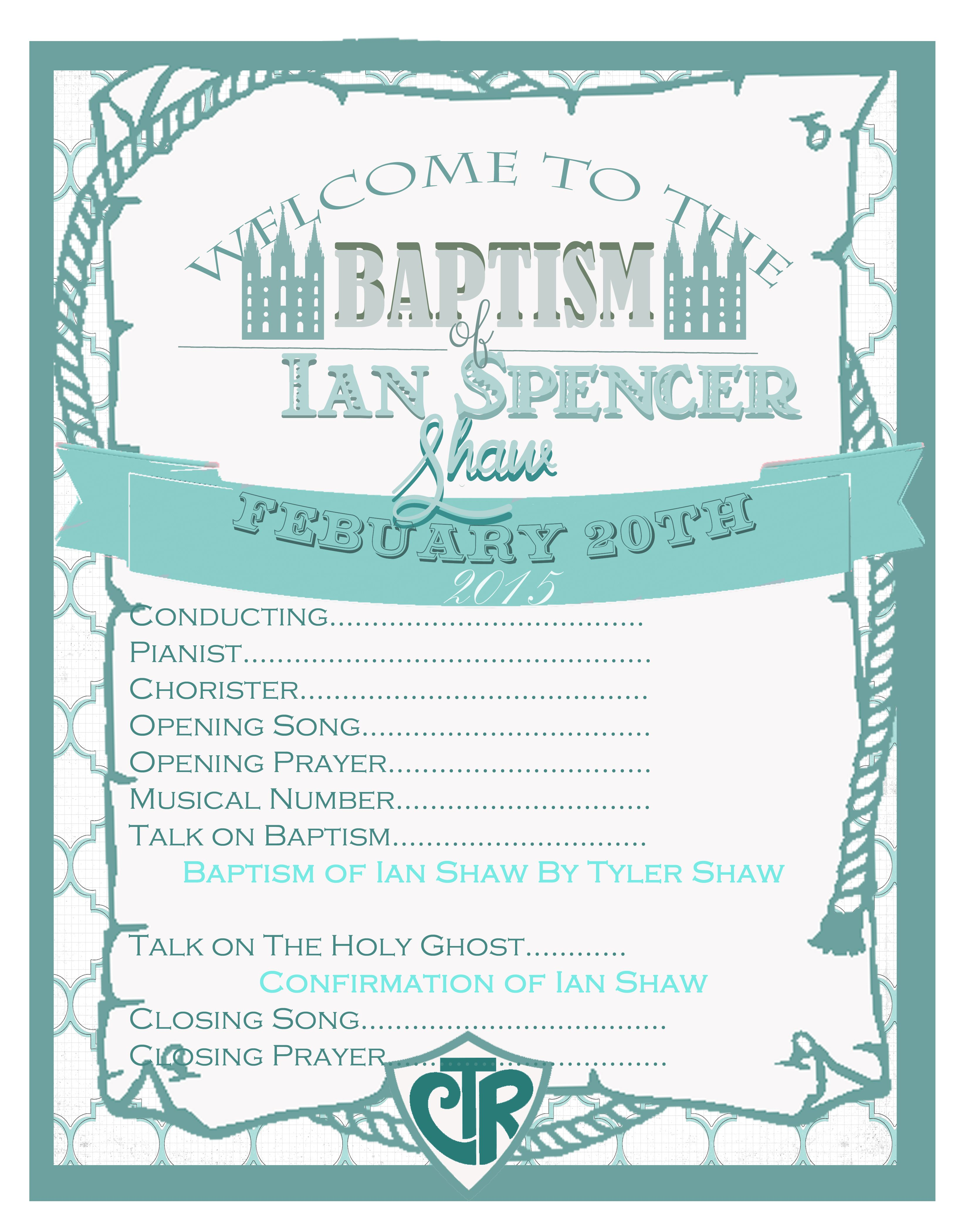 Free Template for LDS Baptism Program. | Primary | Pinterest ...