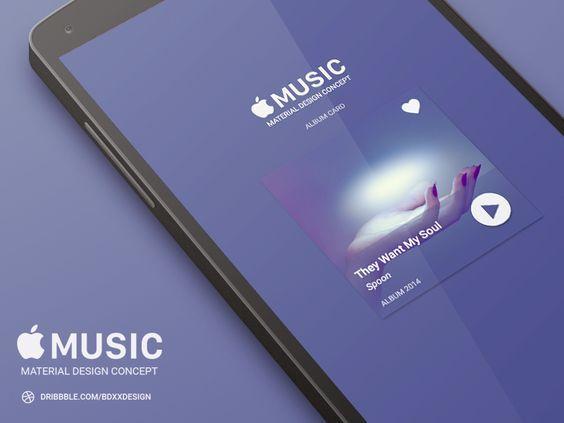 Apple Music Album Card Material Design Material Design Concept Design Mobile Design Inspiration