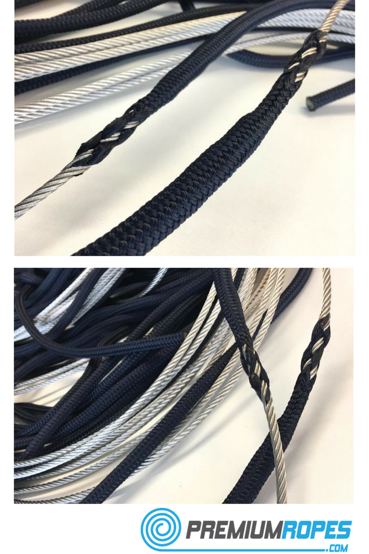 Polyester rope spliced to stainless steel wire lead for halyard ...