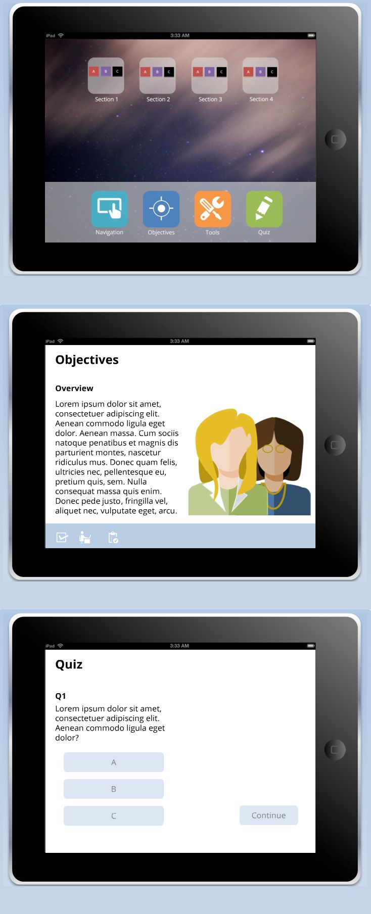 Powerpoint ipad themed user interface elearning templates give your learners a fun and meta way to interact with your content using this sleek ipad themed powerpoint template prefer a different color ipad toneelgroepblik Gallery