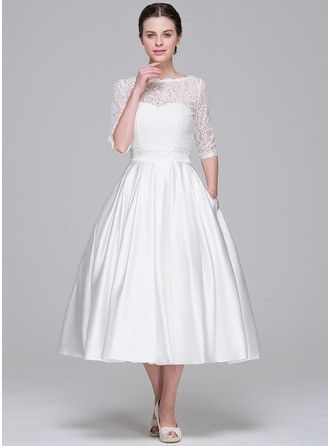 White Satin Tea Length Dress