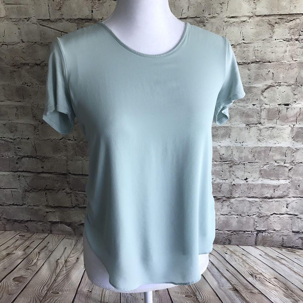 14c69cfb82 Ann Taylor LOFT Size XS 0 2 Off-White Green Striped Cotton Shirt Top Blouse  | eBay