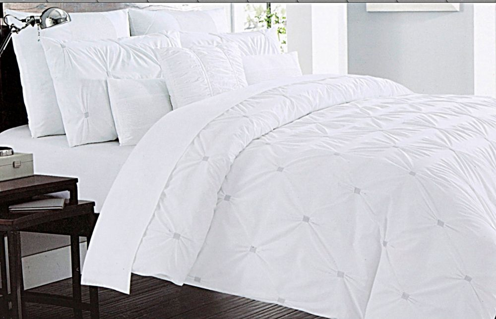 Nicole Miller Ruched Pintuck Puckered 3pc King Duvet Cover Set Diamond Cotton Nicolemiller French