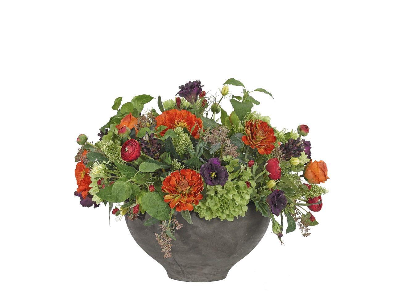 Hydrangea, Poppy, Green Orange, Blackwash Bowl, 28wx27dx22h OF229