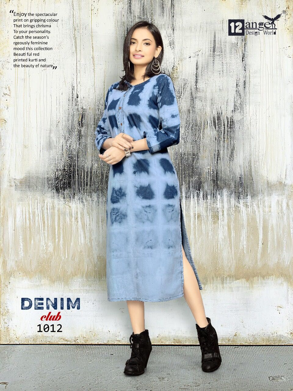 84a832e913 Brand- 12  Angel Catalog- DENIM CLUB Type.. Long Kurti Series-1001 to 1012  Fabric.. Original  cotton  Denim With..  Washing effect Length..46 inc  Sizes.