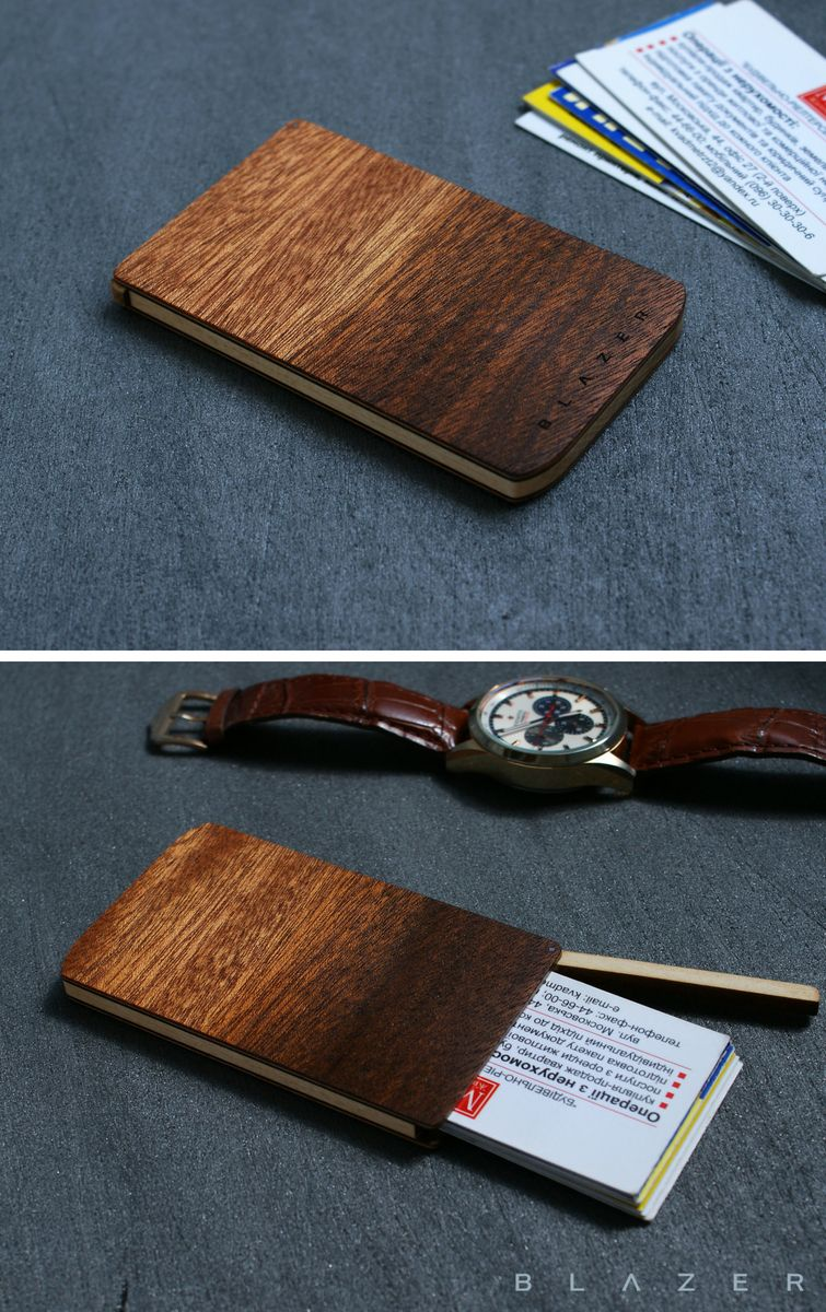 Wood business card case, engraveble business card holder ...