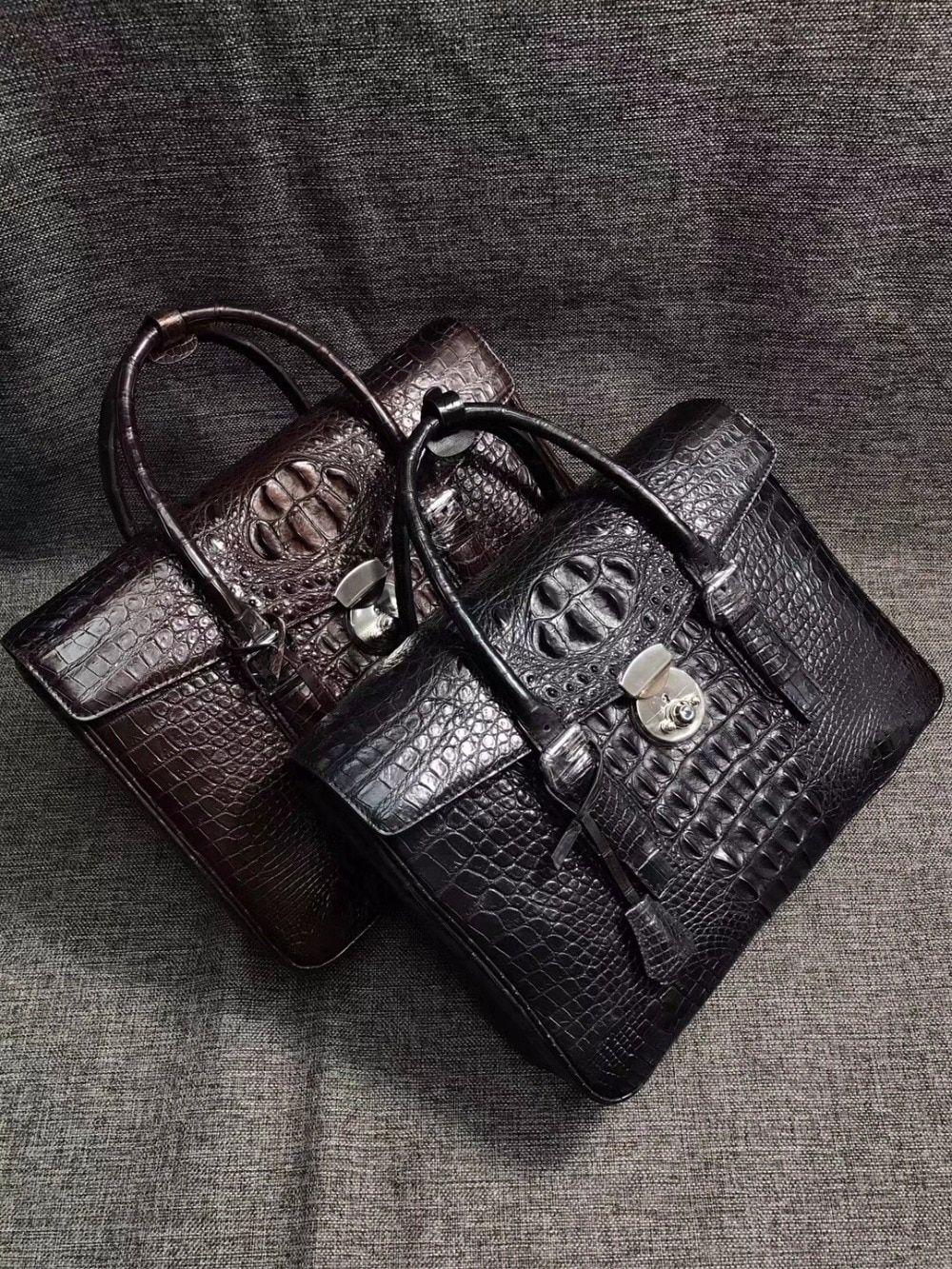 22e4596cf162 Натуральная кожа крокодила бизнесменов черный застежка для портфеля  застежка Сумочка с ручками сверху Мужская сумка из