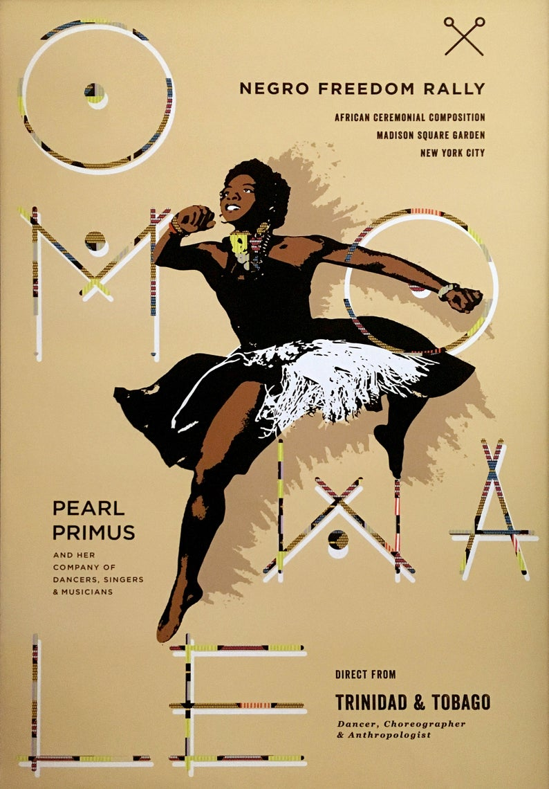 24 X 36 Modern Pearl Primus Poster Etsy Dance Poster African Dance Black Woman Gift