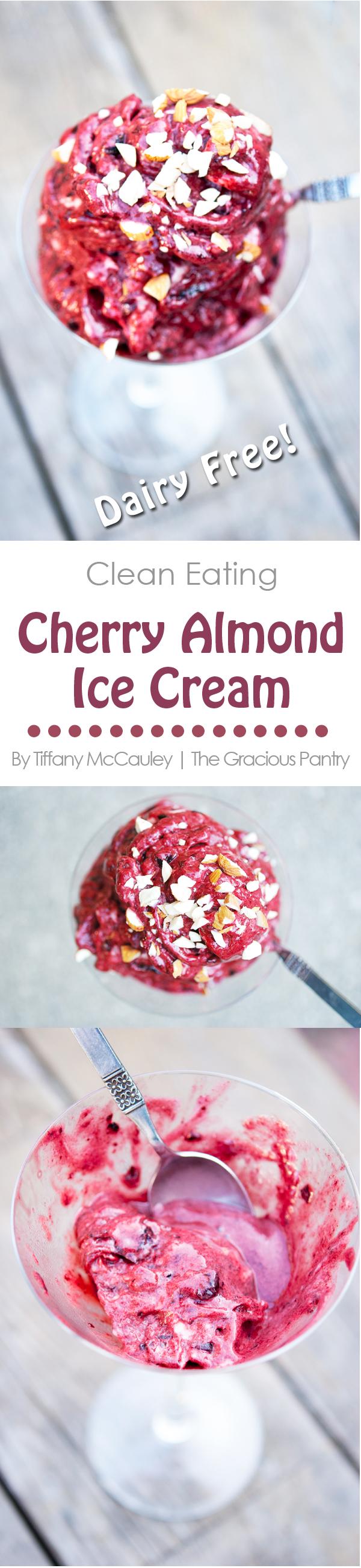 Clean Eating Cherry Almond Ice Cream Recipe #proteinicecream
