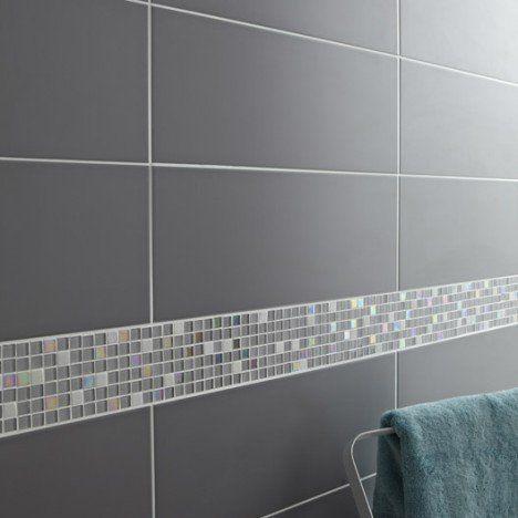 Mosaïque sol et mur Glossy gris Salle de bain Pinterest