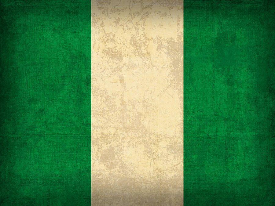 Nigeria Flag Vintage Distressed Finish Mixed Media