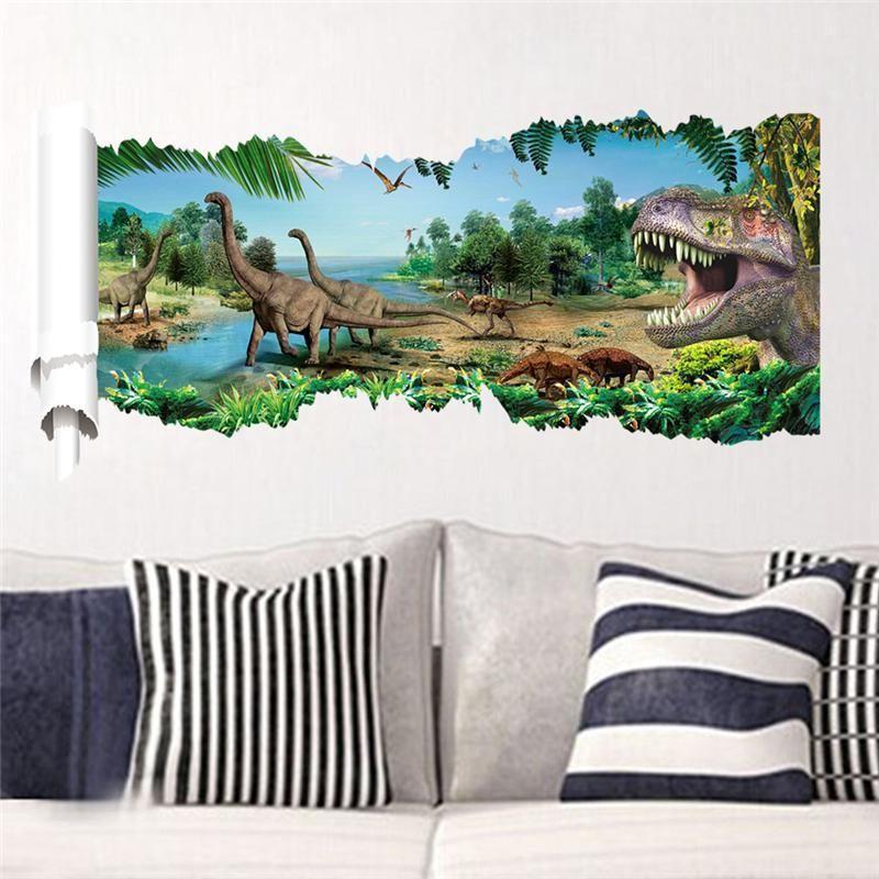 dinosaurs wall stickers jurassic park home decoration diy cartoon kids room animals decals also rh pinterest