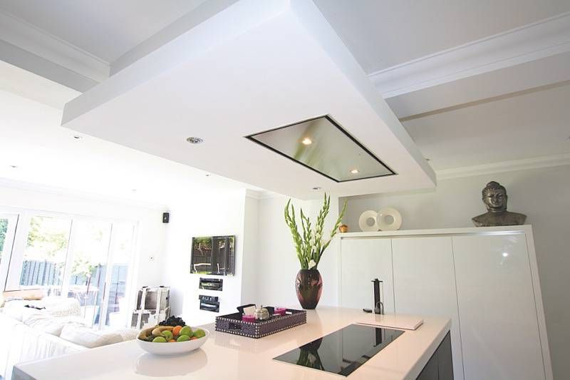 black and white island kitchen - kitchen island ceiling extractor