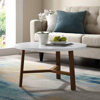 "30"" Round Coffee Table White Marble/Acorn - Saracina Home ..."
