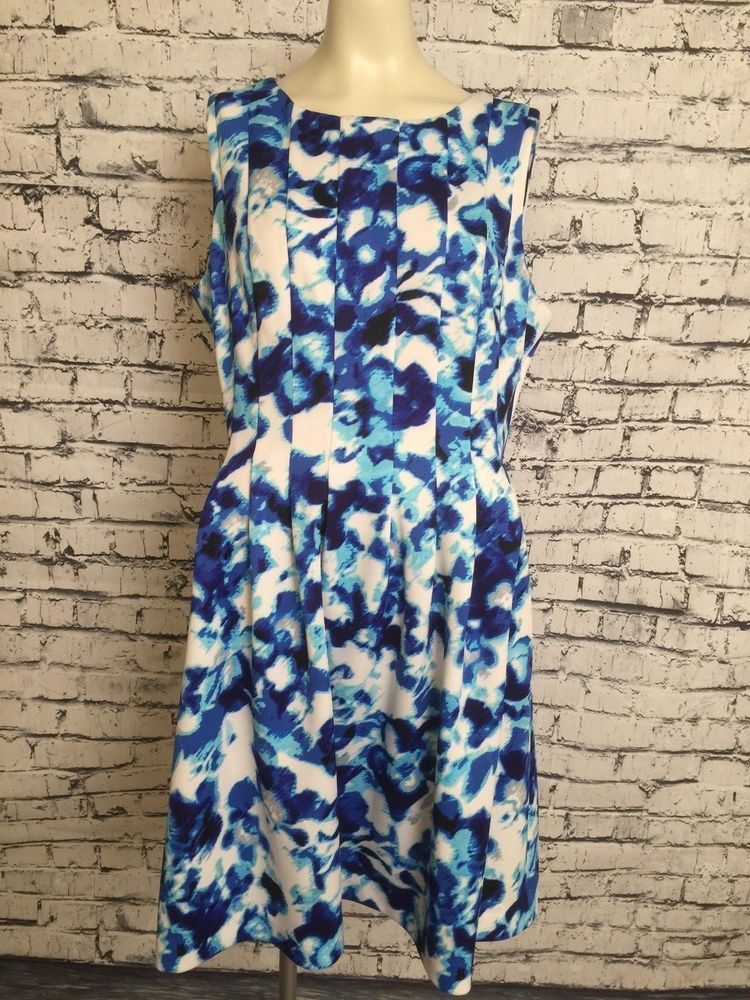 f24ded54d83d Jessica H Plus Size Sleeveless Blue & White Fit & Flare Knee Length Dress  16 #JessicaH #DressFitandFlareFitFlareDress #Casual