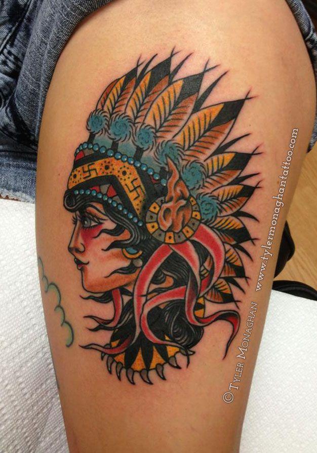 Indian Wolf Headdress Tattoo Wolf Headdress Tattoo Design border=