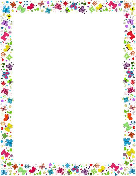 A border featuring butterflies in various colors and designs Free - printable bordered paper designs free
