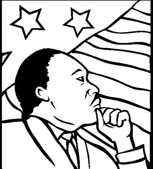 Printable Martin Luther King Coloring For Kids Black