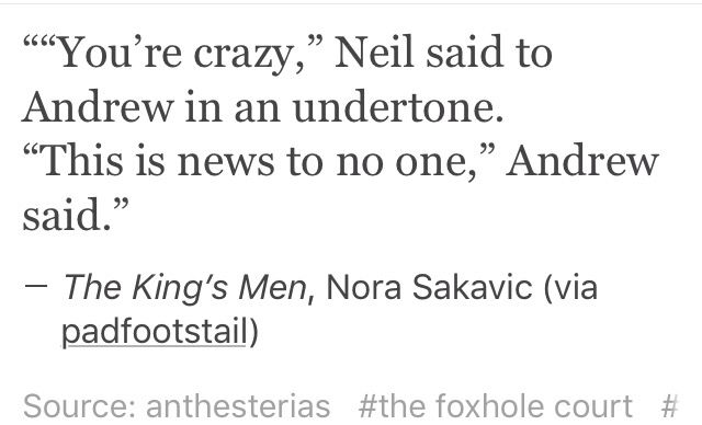 Andrew & Neil | The Foxhole Court | The Raven King | The King's Men | [All for the Game]