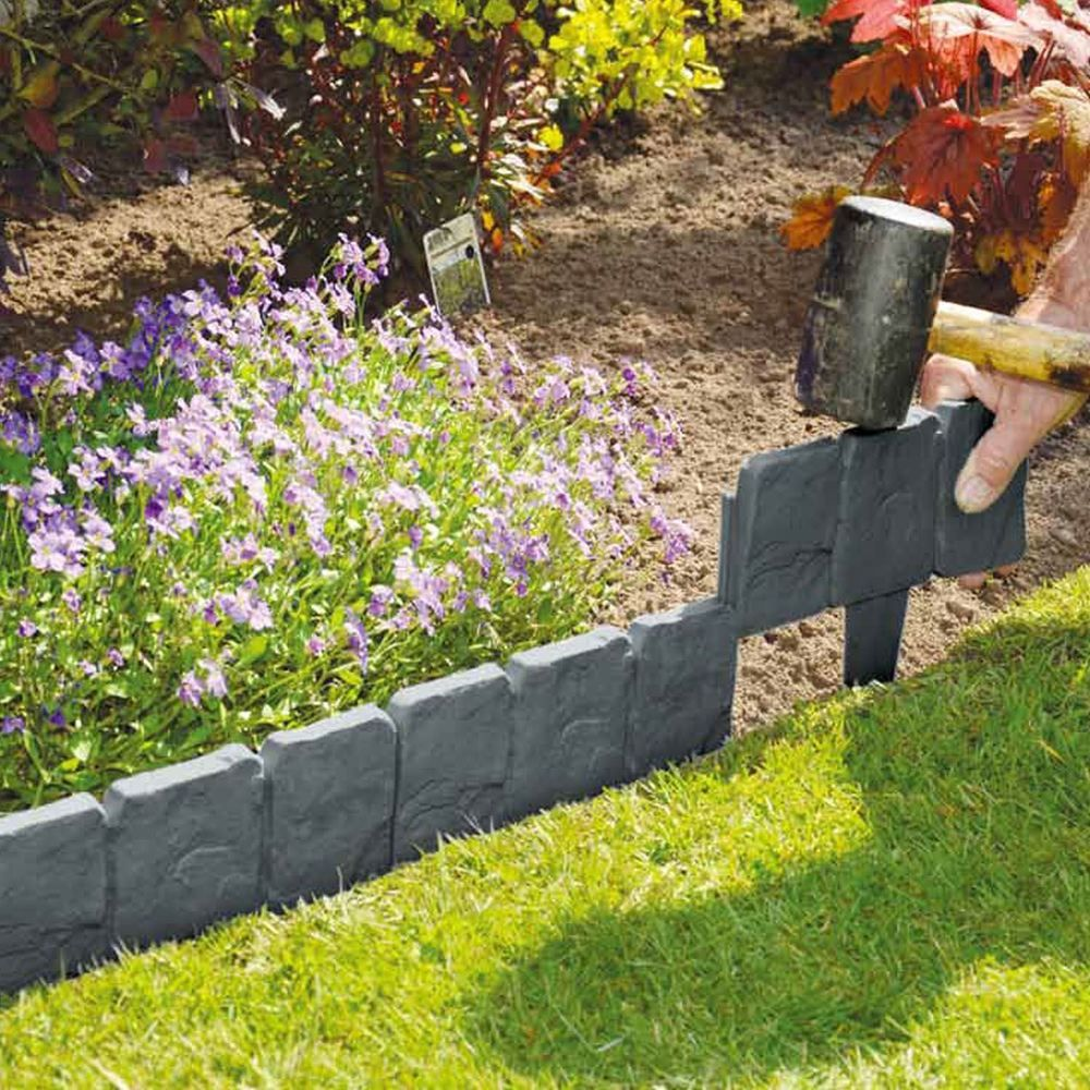 10 Pack Grey Cobbled Stone Effect Plastic Garden Lawn Edging Plant
