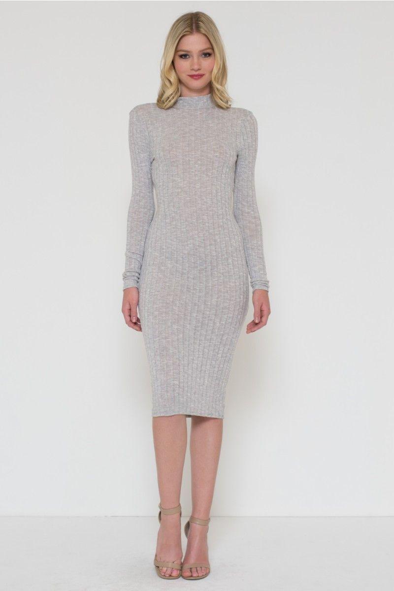 Sweater Long Sleeve Turtle Neck Dress