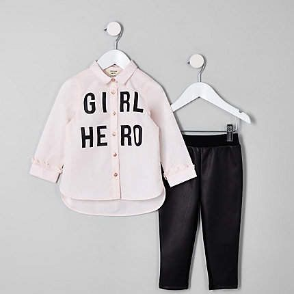 97f3f2b5450eb5 River Island Mini girls pink 'Girl hero' shirt outfit in 2019 ...